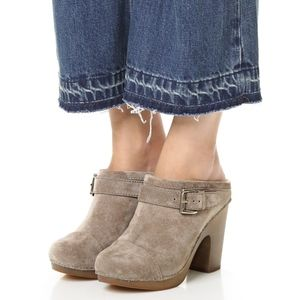 Jeffrey Campbell Charlize Suede Leather Bu Clogs